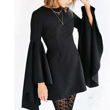 Black Bell Sleeve Back Zipper Forked Tail Dress