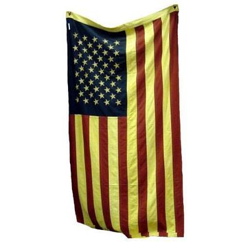 """American USA Flag - Tea Stained Cotton 50 Embroidered Stars 32"""" x 58"""" Large"""