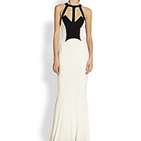 ABS - Caged Two-Tone Jersey Gown - Saks Fifth Avenue Mobile