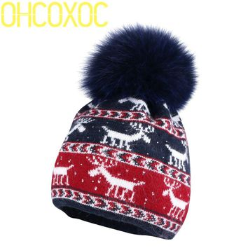 OHCOXOC New Women Beanies Real Fox Fur Pom Poms Ball Cap Keep Warm Beanies Skullies Autumn woman fashion Cashmere Winter Hat