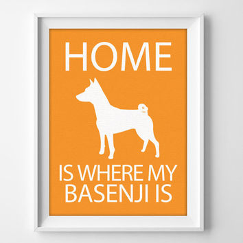 "8x10"" Basenji Wall Art, Illustrated Dog Art, Basenji Decor, Dog Breed Wall Art, Basenji Gift, Basenji Pet, New Puppy Gift, New Dog Owner"