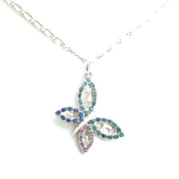 Butterfly Necklace, Swarovski Crystal Butterfly, Bridesmaid Gift, Necklaces for Women, Necklace for Bridesmaid, Jewelry for Best Friend, 402