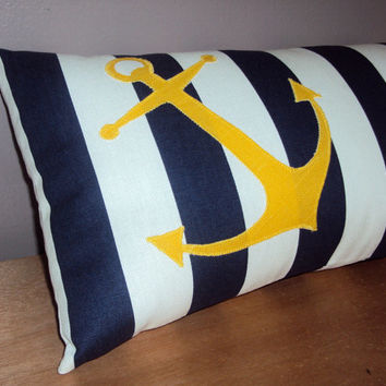 Navy Blue Stripe Nautical Anchor Decorative Lumbar Pillow Cover - Available In 3 Sizes