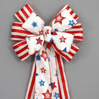 Patriotic Glitter Stars and Stripes Bow