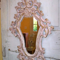 Shabby chic ornate distressed mirror pink white scroll wall decor Anita Spero