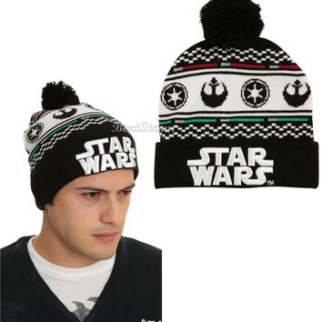 Licensed cool NEW STAR WARS Fair isle Pom Pom Rebel Imperial LOGO Watchman Beanie Knit Ski Hat