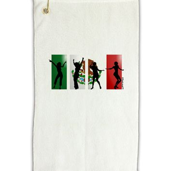 "Mexican Flag - Dancing Silhouettes Micro Terry Gromet Golf Towel 11""x19 by TooLoud"