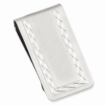 Rhodium Plated Florentined Money Clip (Engravable)
