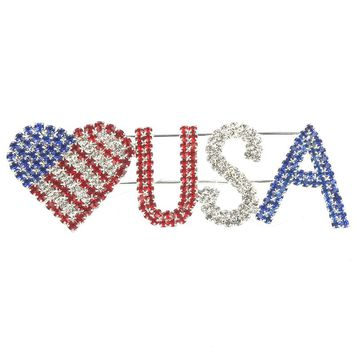 Mulit Color Color Rhinestone Heart Usa Pin And Brooch