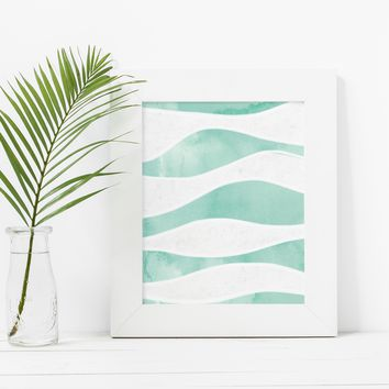 Ocean Waves Watercolor Abstract Art Print
