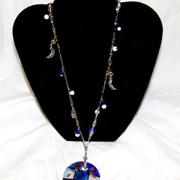 Necklace, Chain,Hand Blown Glass Pendant, Moon, Full moon, Vintage beads, Royal Blue
