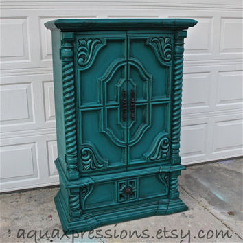 Vintage Armoire /Gypsy Teal / Bedroom Furniture/ Distressed /Black Drawer Pulls/ TV Stand/ Storage