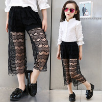 2016 girls summer lace hollow out vintage pants leggings for kids girls children fashion size 8 9 10 teens clothes