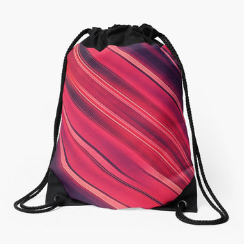 'Modern Red / Black Stripe Abstract Stream Lines Texture Design ' Rucksackbeutel by badbugs