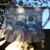 Vintage crochet apron upcycled, bridal photo prop wedding bachelorette party, small medium large, country two-step shabby chic Blueberry Pie