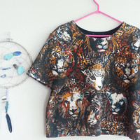 Vintage Oversized Box Style Crop Scuba Top~ 1990's Short Top~ Lion leopard Tiger Kitty Print Clothing~ 90's Clothing~ 80's Vintage Unisex