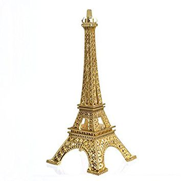 Eiffel Tower Decor,JoyFamily 7Inch (18cm) Metal Paris Eiffel Tower Statue Figurine Replica Drawing Room Table Decor Jewelry Stand Holder for Cake Topper,Gifts,Party And Home Decoration (Gold)