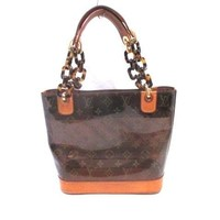 Auth LOUIS VUITTON Cabas Ambre PM M92502 Brown Monogram Vinyl LB0023 Tote Bag