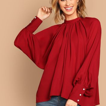 Gathered Neck Balloon Sleeve Solid Top