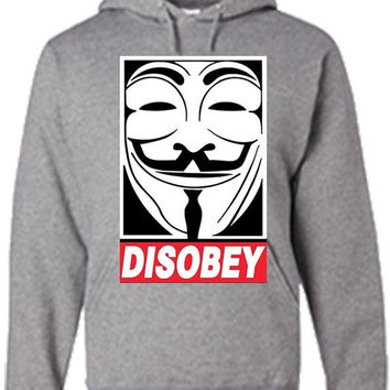 Disobey V for Vendetta Anonymous Sweatshirt Hoodie in Black, Red, Blue and Grey for Adults