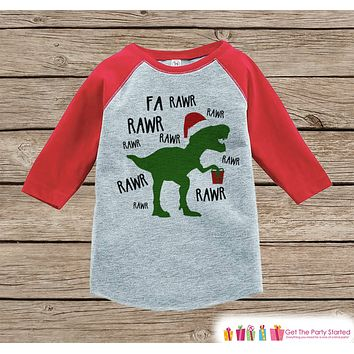 Dinosaur Christmas Outfit - T Rex Christmas Shirt or Onepiece - Holiday Outfit for Baby, Toddler, Youth - Red Raglan Dino Outfit Tyrannosaurus Rex
