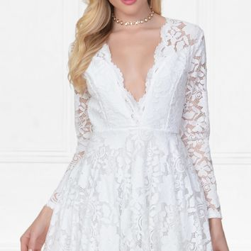 Indie XO Flirty Encounter White Lace Long Sleeve V-Neck Skater Circle A Line Flared Skirt Mini Dress - Just Ours!