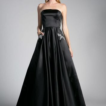 Strapless Prom Ball Gown Embellished Pockets Black