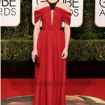 Natalie Dormer Pleated Chiffon Long Red Carpet Dresses
