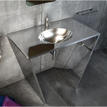 "Quatordici 39-3/8"" Single Sink Bathroom Vanity Console Stainless Steel - DROP Sink"