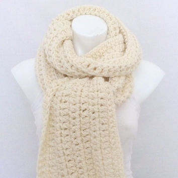 Chunky Long Fringed Scarf, Creme, Off-White Scarf, Soft and Warm