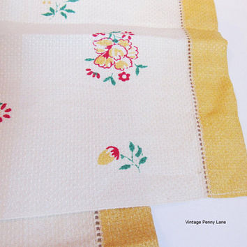 Vintage Printed Tea Towels, Hand Towels, Dish Cloths, Set of 2, Floral Towels, Pure Linen, Made in Ireland