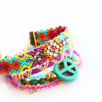 Made to Order,SS13,Swarovski,Peace Charm,Swarovski,Bohemian Indian Boho Chic Gypsy Hippie Multiple Strands Beaded Friendship Bracelet Set