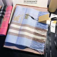 BURBERRY Winter Fashion Women Men Cashmere Cape Scarf Scarves Shawl Accessories Blue