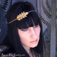 On Golden Frond Chain Headpiece Head Chain with by ravenevejewelry