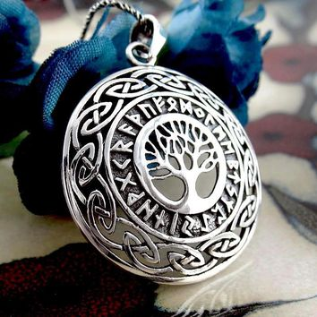 Tree of Life Necklace With Runes and Celtic Knots