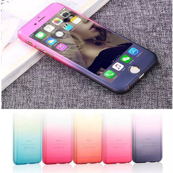 Double color gradient design phone case for iphone 6/6S/6Plus/6SPlus with Tempered Glass Screen Protector