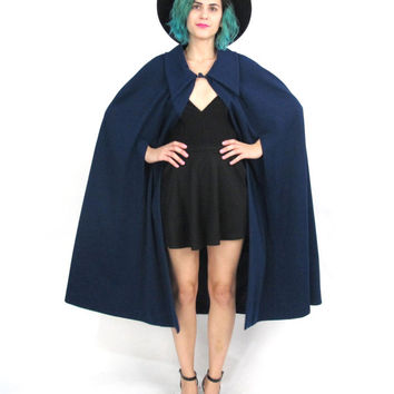 60s 70s Navy Cape Blue Poncho Jacket Military Cape Collared Draped Knit Capelet Mod Coat (S/m)