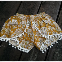 XS Yellow Pom Pom Shorts Boho Hobo Beach Hippie Elephant Hipster Rayon Dot Trimming Clothing Aztec Ethnic Ikat Sleepwear Underwear Trim