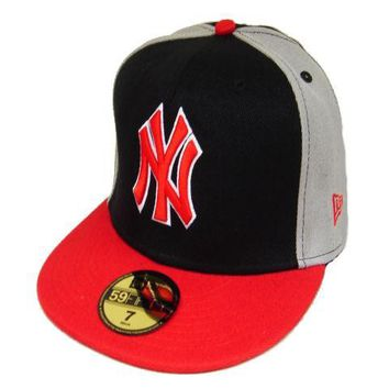 LMFON New York Yankees New Era MLB Authentic Collection 59FIFTY Cap Black-Red-Grey