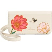 kate spade new york iPhone X embroidered bee leather folio crossbody | Nordstrom