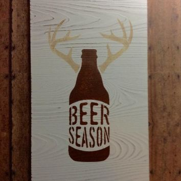 Rustic Man Cave Decor, Hunting Cabin Sign, Lodge Decor, Beer Season Wood Sign, Funny Deer Hunting Sign, Gift For Hunters, Beer Lovers Gift