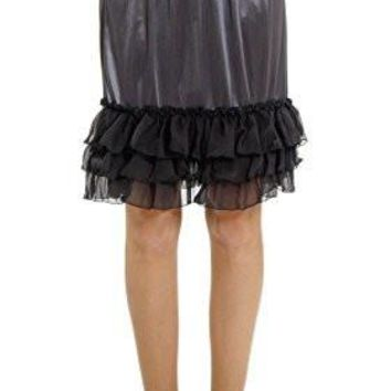 Women's Satin Half Slip Skirt Extender with three tiered Ruffle Hem
