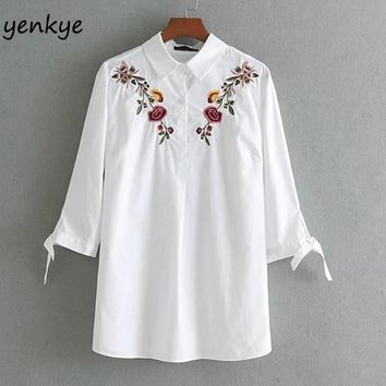 Women Floral Embroidery Shirt Blouses Turn-down Collar Tie Cuffs Three-Quarter Sleeve Casual Autumn White Blouse