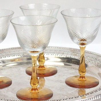 Vintage Cordial Glasses / SET of 4 / Amber Glass / Jewel Tone / Art Deco Style