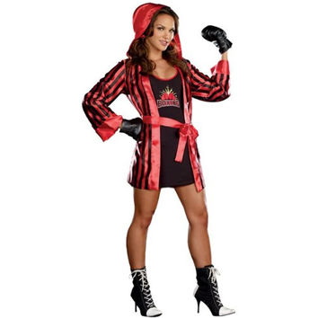 Dreamgirl Womens Champs Like Us Boxer Halloween Party Dress Costume