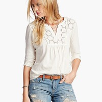 Lucky Brand Lace Placket Top Womens - Marshmallow