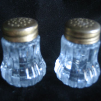 "Salt & Pepper Shakers Clear hard plastic with gold metal tops, Vintage, Small 1 3/4"" High Great for the Holiday table"