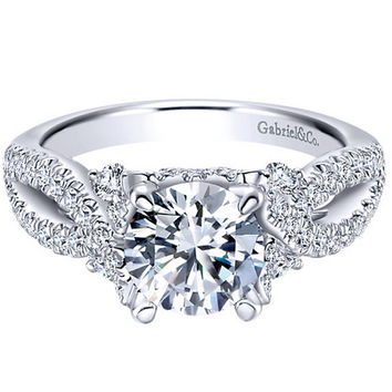 "Gabriel ""Clover"" Pave Twist Split Shank Diamond Engagement Ring"