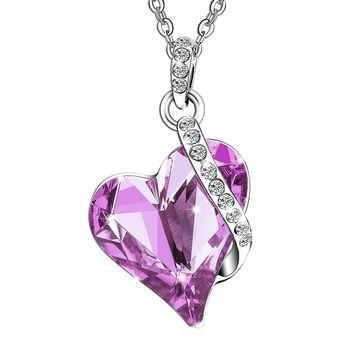 Ezil Valentines Gifts Love Heart Swarovski Crystals Pendent Silver Plated Adjustable Necklace