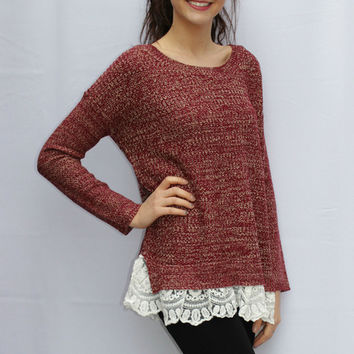 Burgundy Knit Sweater with Lace Trim Hem